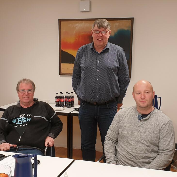 Forhandlingsdelegasjonen: Arild Magne Tharaldsen, Ulf Brekke (rådgiver i Dnmf) og Bård Hagen