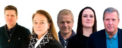 Rolf Morten Jacobsen, leder av forhandlingsutvalget NIS; Hege-Merethe Bengtsson, forhandlingsleder;  Marius Slettingdalen, leder av forhandlingsutvalget; Helene J. Brandal, rådgiver og Håkon Eidset, rådgiver.